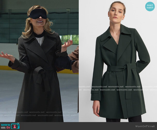 Short Oaklane Trench Coat in Crepe by Theory worn by Amy Quinn (Lindsey Gort) on All Rise