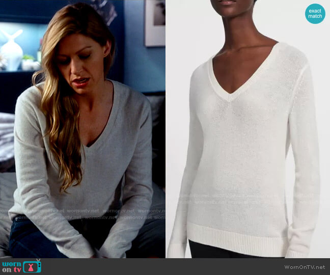 Theory V-Neck Sweater in Feather Cashmere worn by Ava Sharpe (Jes Macallan) on Legends of Tomorrow
