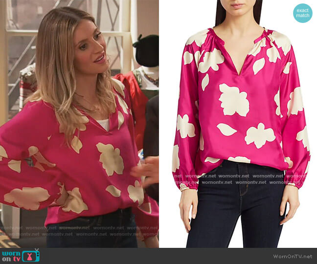 Floral V-Neck Puff-Sleeve Silk Blouse by Theory worn by Chelsea Grayson (Anneliese van der Pol) on Ravens Home