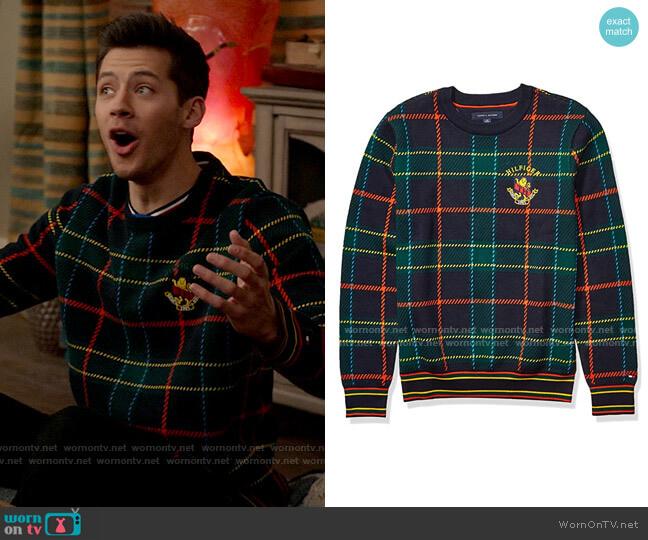 Tommy Hilfiger Plaid Crewneck Sweater in Sky Captain / Multi worn by EJ (Matt Cornett) on High School Musical The Musical The Series