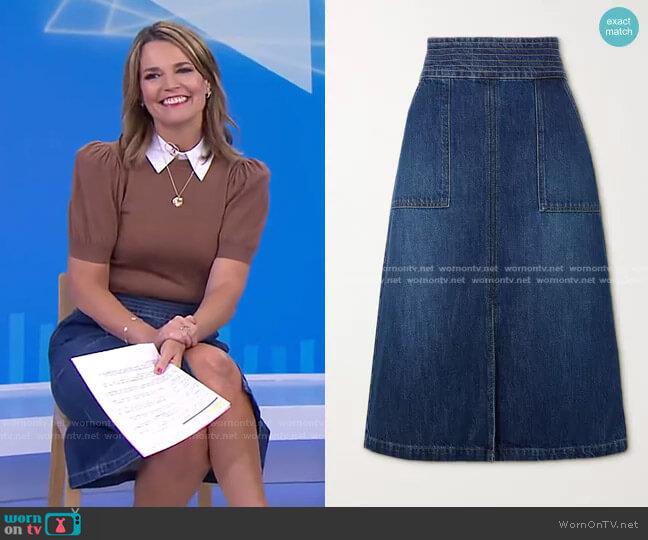 Trapunto Denim Midi Skirt by Frame worn by Savannah Guthrie  on Today