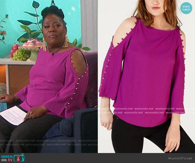 Button-Trim Cold-Shoulder Top by Trina Turk worn by Sheryl Underwood  on The Talk