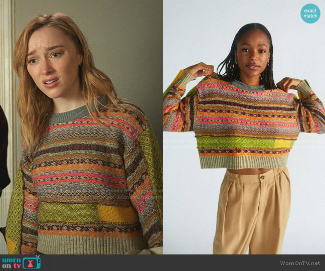 Penny Patchwork Cropped Sweater by Urban Outfitters worn by Clare O'Brien (Phoebe Dynevor) on Younger