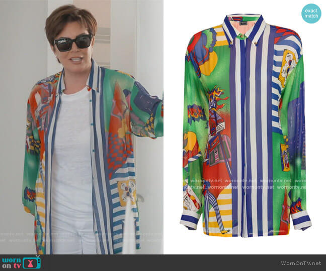 Vintage Couture New York Jazz Shirt by Versace  worn by Kris Jenner  on Keeping Up with the Kardashians