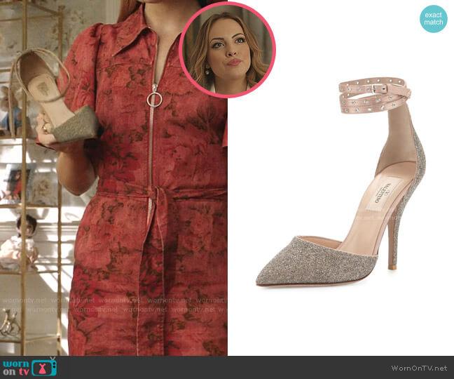 Glitter Pointed-Toe Ankle-Wrap Pump by Valentino Garavani worn by Fallon Carrington (Elizabeth Gillies) on Dynasty