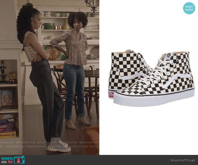 Tapered Checkerboard Sneakers by Vans worn by Olivia Baker (Samantha Logan) on All American