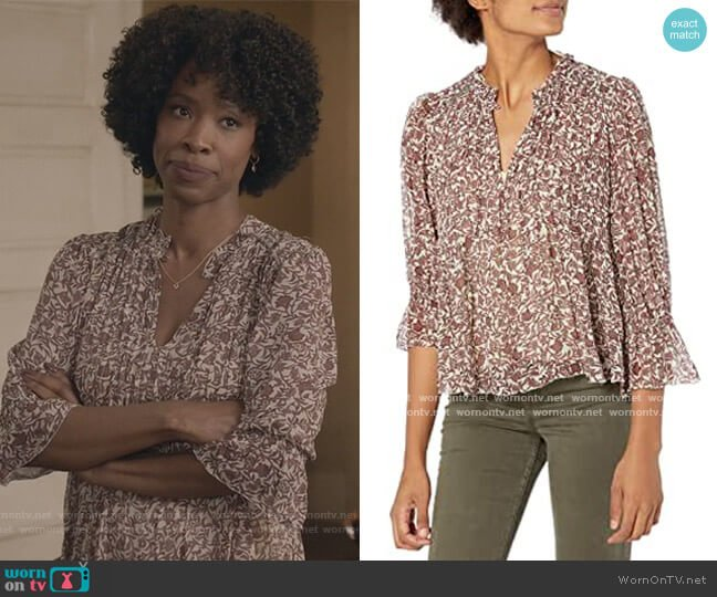 Wilona Long Sleeve Ruffle Top by Velvet by Graham and Spencer worn by Grace James (Karimah Westbrook) on All American