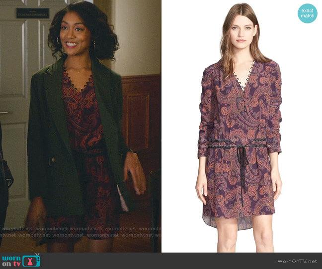 Benson Paisley Print Silk Dress by Veronica Beard worn by Mercedes Morris on Good Witch