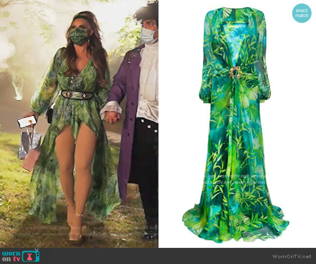 Jungle floor-length dress by Versace worn by Jennifer Aydin  on The Real Housewives of New Jersey