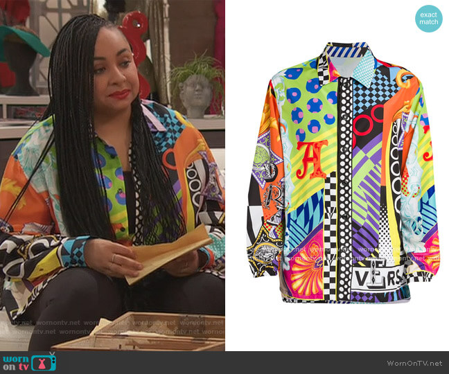 Multicolor Mixed Print Silk Shirt by Versace worn by Raven Baxter (Raven-Symoné) on Ravens Home