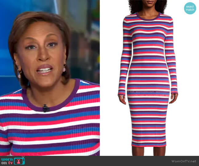 Striped Long-Sleeve Ribbed Dress by Victor Glemaud worn by Robin Roberts  on Good Morning America