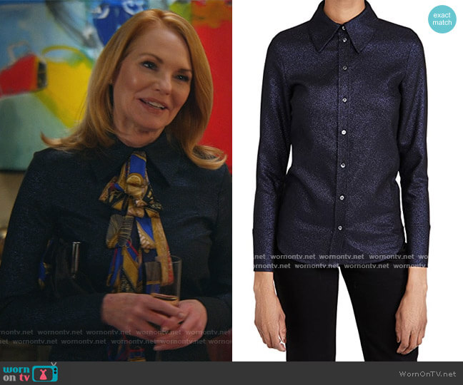 Fitted Metallic Tailoring Shirt by Victoria Victoria Beckham worn by Lisa Benner (Marg Helgenberger) on All Rise