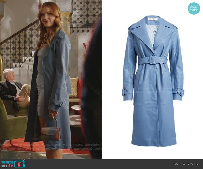 Leather Belted Trench Coat by Victoria Victoria Beckham worn by Kirby Anders (Maddison Brown) on Dynasty