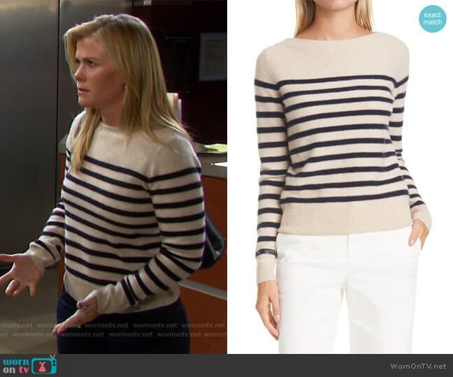 Breton Boat Neck Stripe Cashmere Sweater by Vince worn by Sami Brady (Alison Sweeney) on Days of our Lives