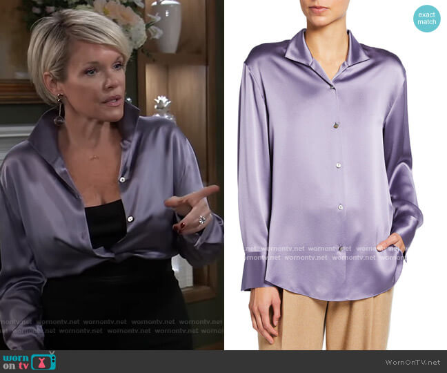 Collared Silk Button-Down Blouse by Vince worn by Ava Jerome (Maura West) on General Hospital