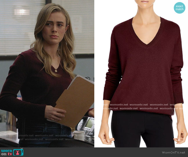 Weekend V Neck Cashmere Sweater by Vince worn by Michaela Stone (Melissa Roxburgh) on Manifest