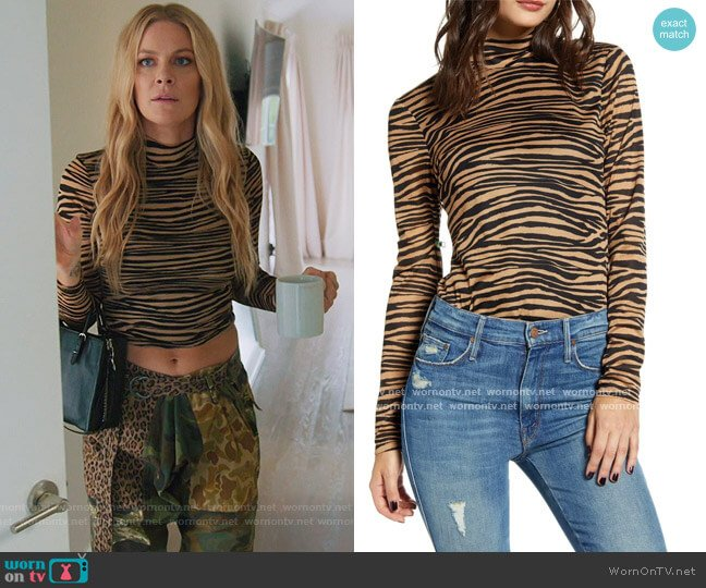 Jett Tiger Stripe Mock Neck Knit Top by Wayf worn by Leah McSweeney  on The Real Housewives of New York City