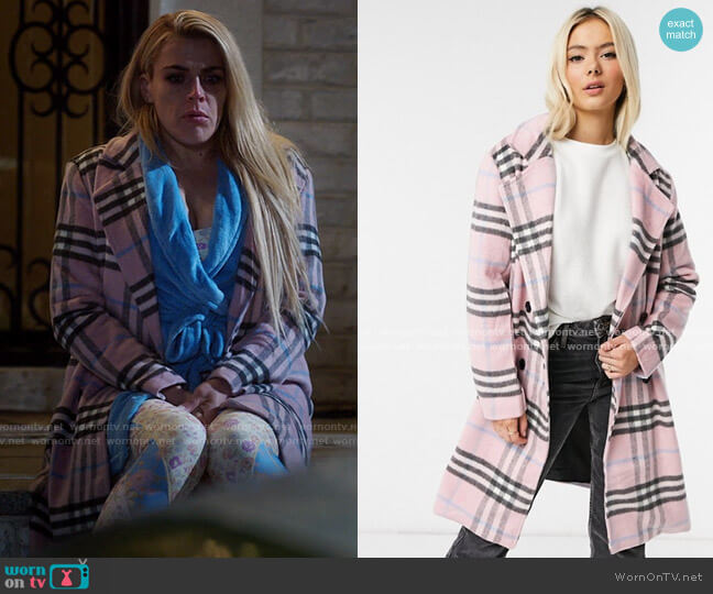 Wednesday's Girl longline tailored coat in pastel check worn by Summer Dutkowsky (Busy Philipps) on Girls5eva
