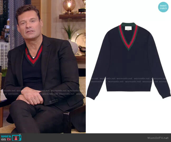 Wool V-Neck Sweater with Web by Gucci worn by Ryan Seacrest on Live with Kelly and Ryan