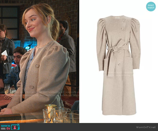Wren Puff Sleeve Wool Coat by Ulla Johnson worn by Clare O'Brien (Phoebe Dynevor) on Younger