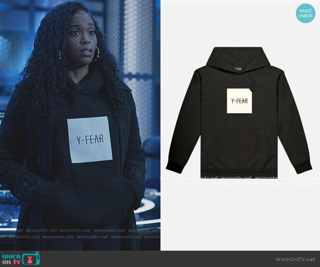 Black Logo Hoodie by Y-Fear worn by Anissa Pierce (Nafessa Williams) on Black Lightning