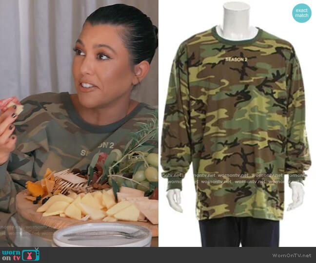 Season 2 Invitation Camo T-shirt by Yeezy worn by Kourtney Kardashian  on Keeping Up with the Kardashians