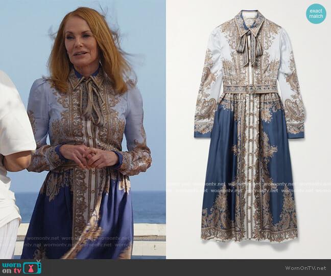 Luminous Scarf print midi dress by Zimmermann worn by Lisa Benner (Marg Helgenberger) on All Rise