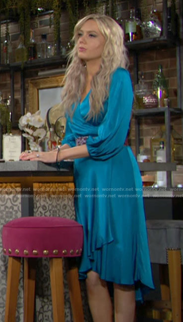Abby's blue wrap dress on The Young and the Restless