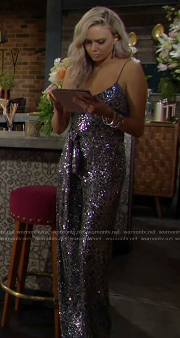 Abby's sequin leopard jumpsuit on The Young and the Restless