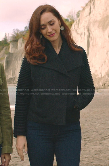 Abigail's black ribbed sleeve jacket on Good Witch