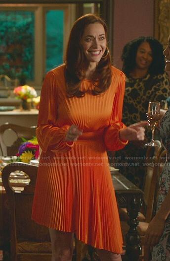 Abigail's orange pleated dress on Good Witch