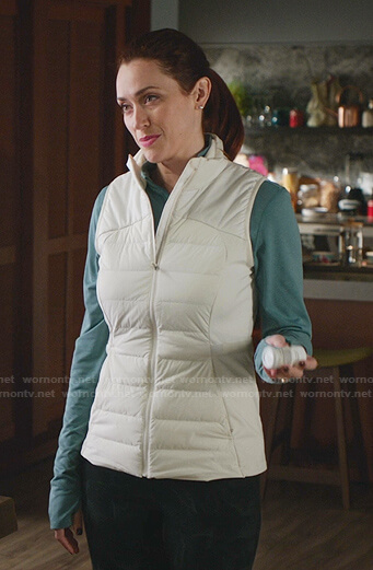 Abigail's white puffer vest on Good Witch