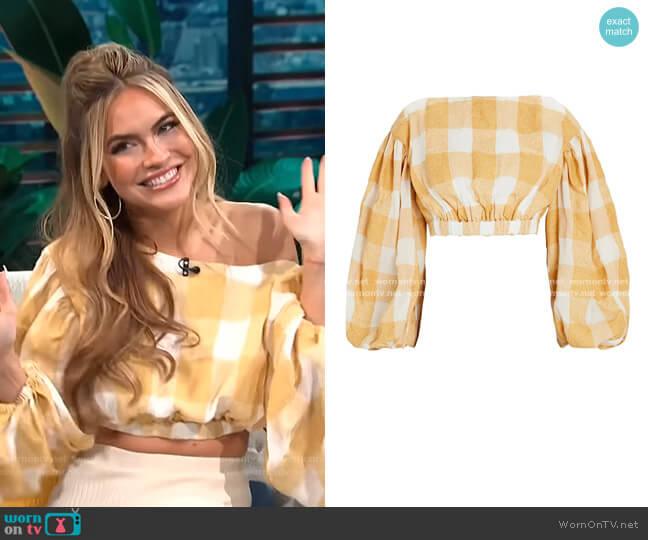 Sutherland Gingham Crop Top by Acler worn by Chrishell Stause on E! News Daily Pop