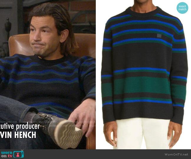 Acne Studios Stripe Face Patch Wool Sweater worn by Ryan Vogelson (Jordan Masterson) on Last Man Standing