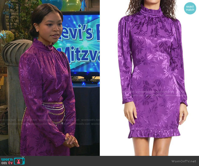 Zoe Floral Long Sleeve Minidress by Adelyn Rae worn by Nia Baxter (Navia Robinson) on Ravens Home