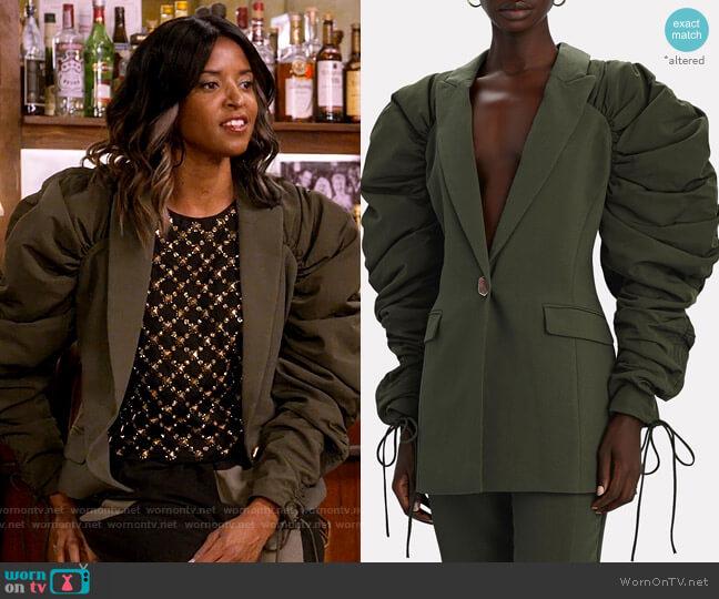 Aje Interlace Ruched Sleeve Blazer worn by Wickie Roy (Renée Elise Goldsberry) on Girls5eva
