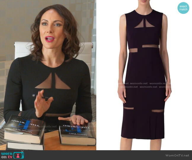 Tulle Cutout Double Face Midi Sheath Dress by Akris worn by Quinn (Laura Benanti) on Younger