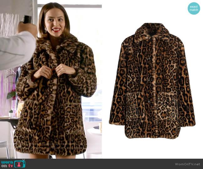 ALC Bolton Leopard Coat worn by Zari Tomaz (Tala Ashe) on Legends of Tomorrow