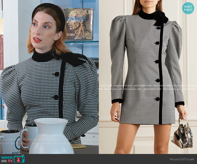 Velvet-trimmed Checked Wool-blend Mini Dress by Alessandra Rich worn by Lauren (Molly Bernard) on Younger