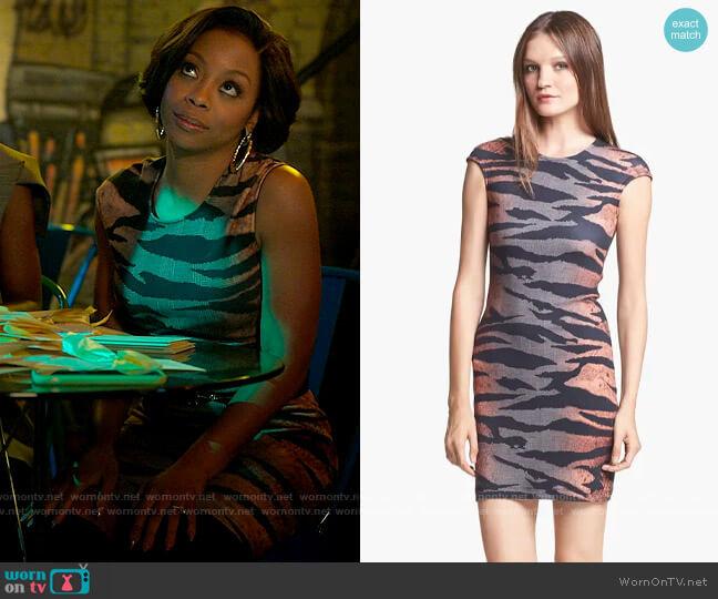 McQ by Alexander McQueen Tiger Print Dress worn by Renee Ross (Bresha Webb) on Run the World
