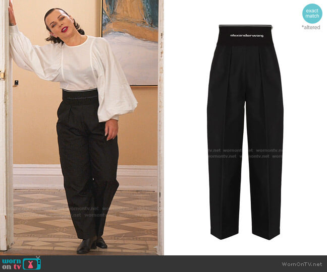 Logo Waistband Wide-Leg Trousers by Alexander Wang worn by Maggie (Debi Mazar) on Younger