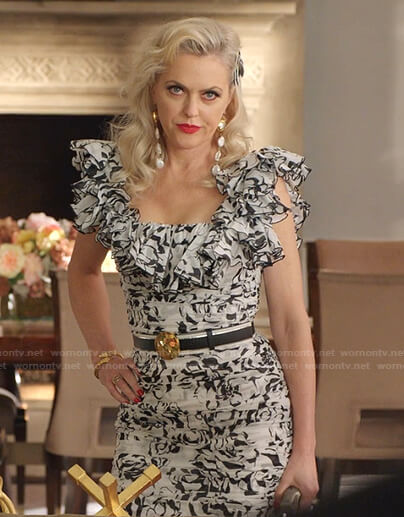 Alexis's black and white floral ruffle dress on Dynasty