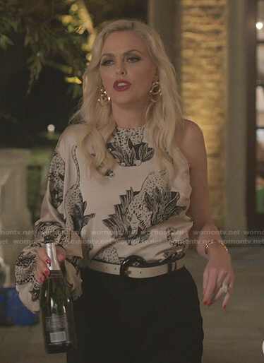 Alexis's animal print one-shoulder top on Dynasty