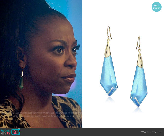 Alexis Bittar Faceted Wire Earring worn by Renee Ross (Bresha Webb) on Run the World
