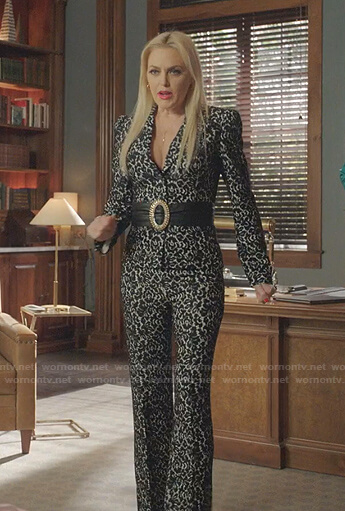 Alexis's floral lace blazer and pants on Dynasty