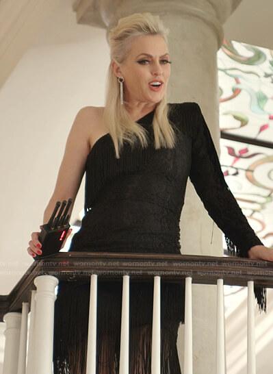 Alexis's black fringed one-shoulder dress on Dynasty