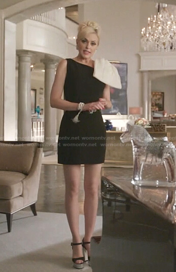 Alexis's black one-shoulder bow dress  on Dynasty