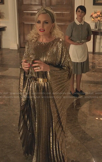 Alexis's metallic pleated dress on Dynasty