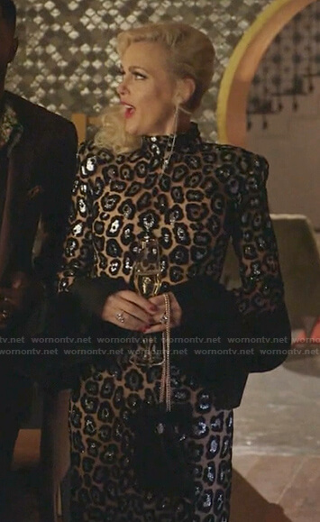 Alexis's metallic leopard dress on Dynasty