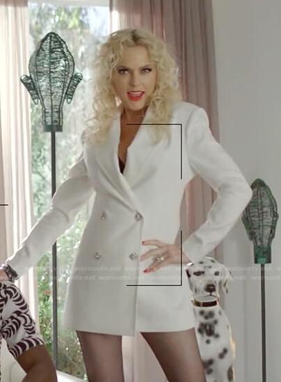 Alexis's white blazer dress on Dynasty